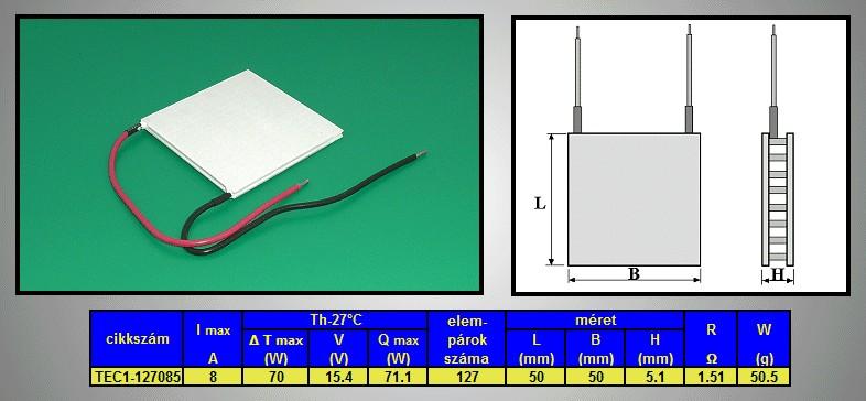 PELTIER hőelem 50x50x5.1mm 71W PL-50X50-5.1