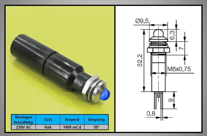 LED 3mm INDIKÁTOR 230V Kék, IP67 LAMP LED B230 -