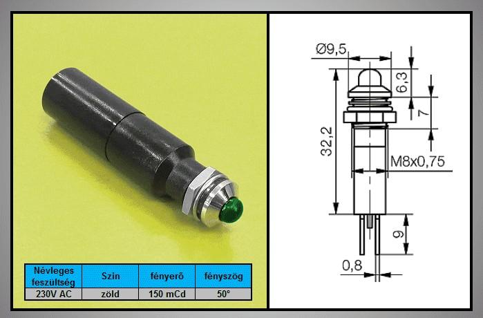 LED 3mm INDIKÁTOR 230V Zöld, IP67 LAMP LED G230 -