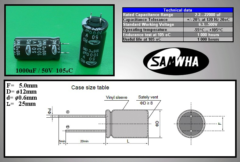 ELKO 1000uF 50V 105°C 12.5x25, rövid lábú (6mm) 1000/50P-105/R -