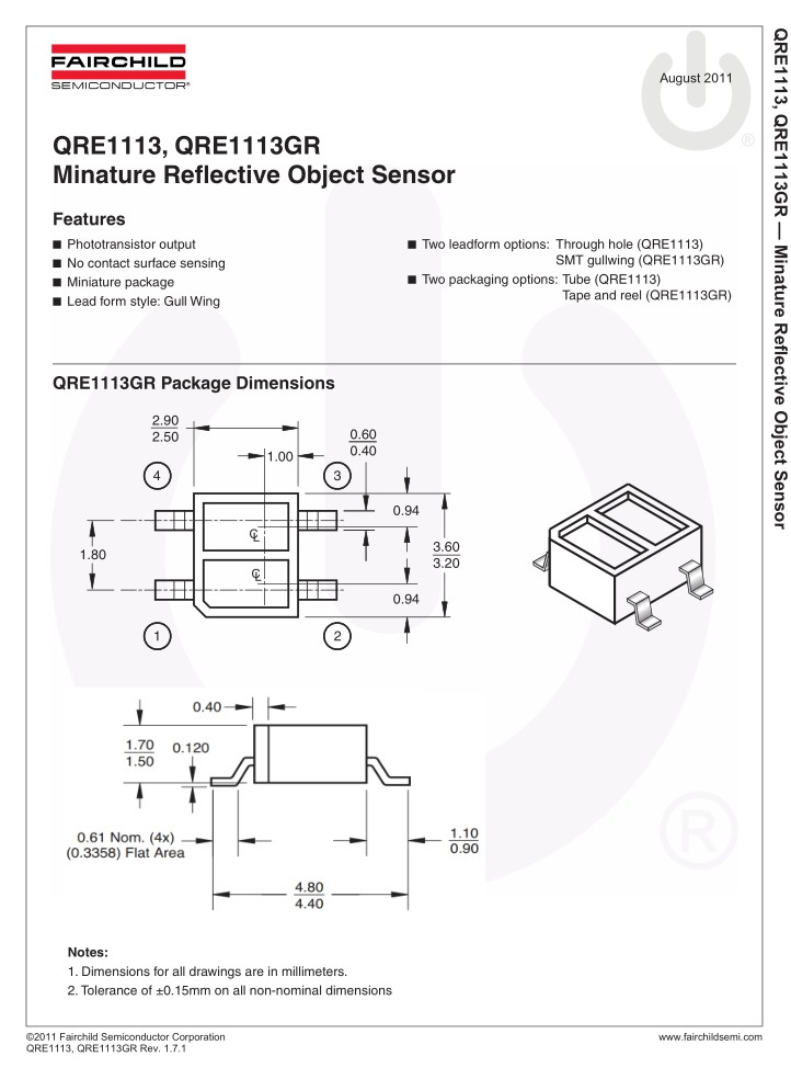 Optical Switches, Reflective, Phototransistor Output 4p. QRE1113GR