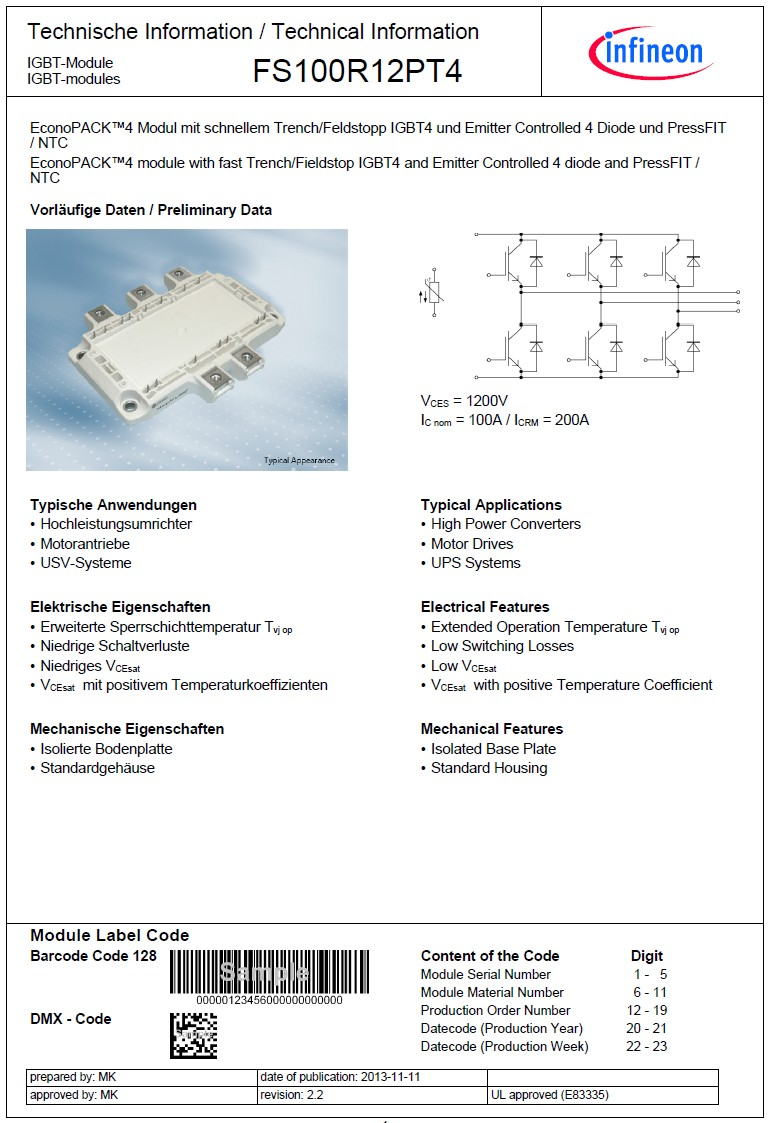 N-IGBT+D 1200V 135A/200Ap. 500W 6-ch FS100R12PT4