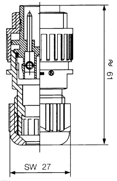 3+1 apa dugó 400V, 16A, IP67, egyenes (lengő) CSAT-CA3LS -