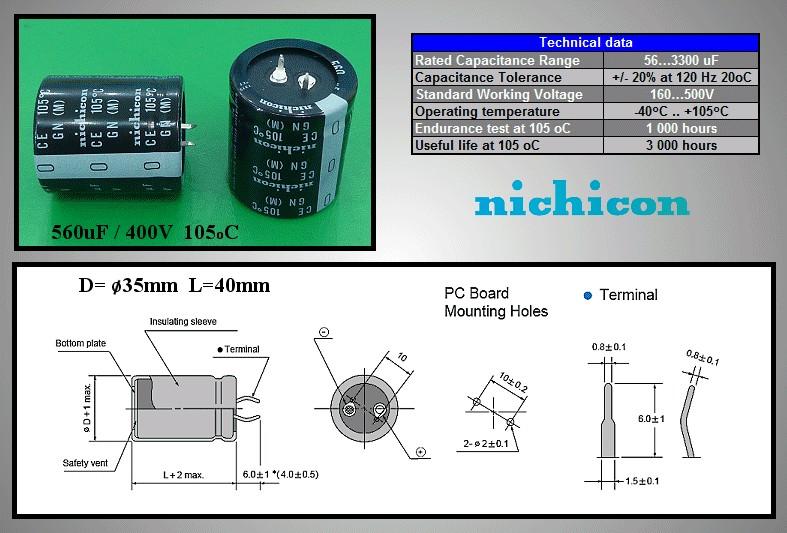 ELKO 560uF 400V 105°C 35x40 Snap-in 560/400P 35X40 -