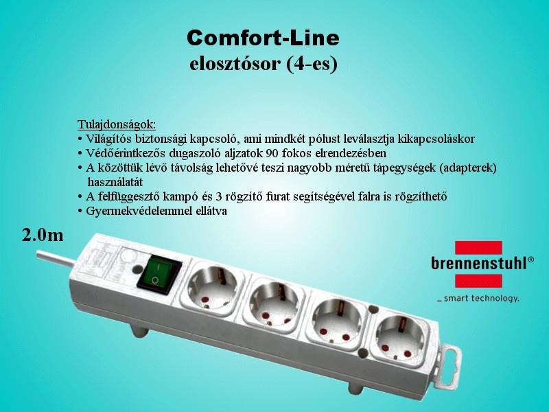 Kapcsolós, földelt 4x elosztó vezetékkel 2m fehér V-100130W -