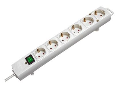 Kapcsolós, földelt 6x elosztó vezetékkel 2m fehér V-100131W