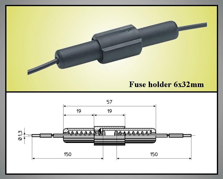 Lengő biztosíték tartó 5x20 vagy 6x32 ZH9-6X32 -