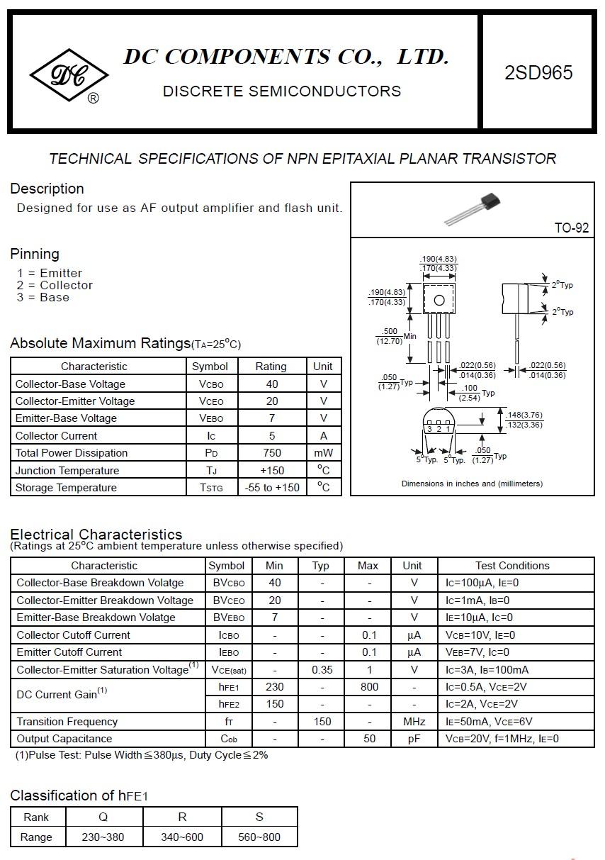 SI-N 40/20V 5A 0.75W 150MHz AF 2SD965 -