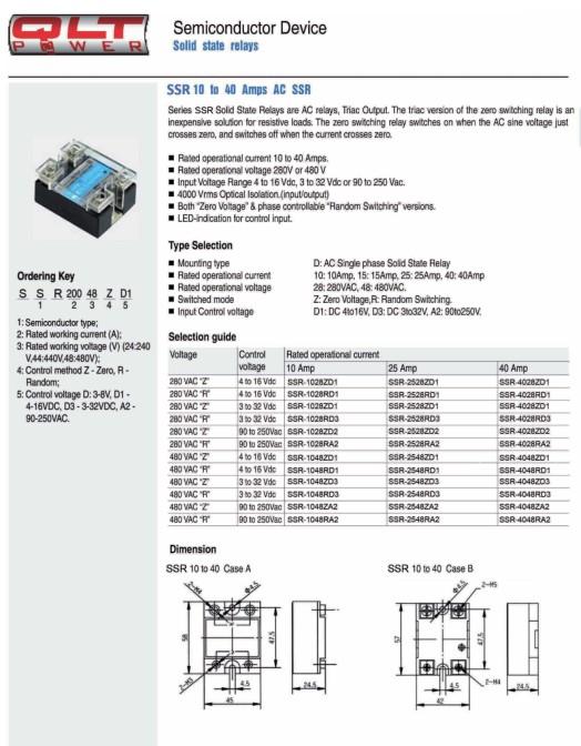 SSR 3-32VDC 1x280VAC/40A Zero Voltage RELAY-SSR4028ZD3
