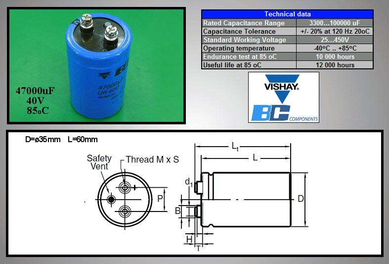 ELKO 47000uF 40V 85°C 50x80 Csavaros (M5) 47000/40P -