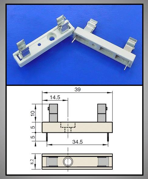 Műanyag biztosíték tartó, 6,3x32mm Nyákos ZH1/6.3 -