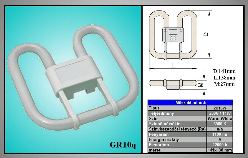 Kompakt fénycső, pille GR10q 4p. 16W 3500K 10Y LAMP GR10/16W PILLE -