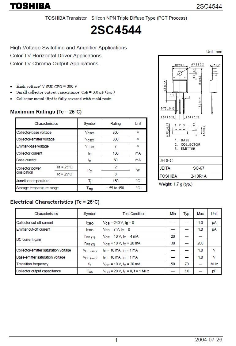 Tranzisztor NPN 300V 100mA 8W 70MHz hFE: 20-200 2SC4544 2SC4544 -