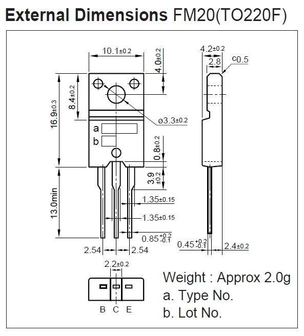 Tranzisztor NPN Darlington+D 380V 6A/10Ap 35W 20MHz 2SD2141 2SD2141 -