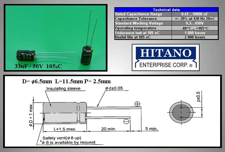 ELKO 33uF 50V 105°C 6.3x12 Low-ESR álló 33/50P-105ESR H -
