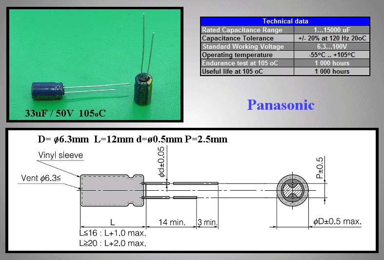 ELKO 33uF 50V 105°C 6.3x11.2 Low-ESR álló 33/50P-105-ESR -