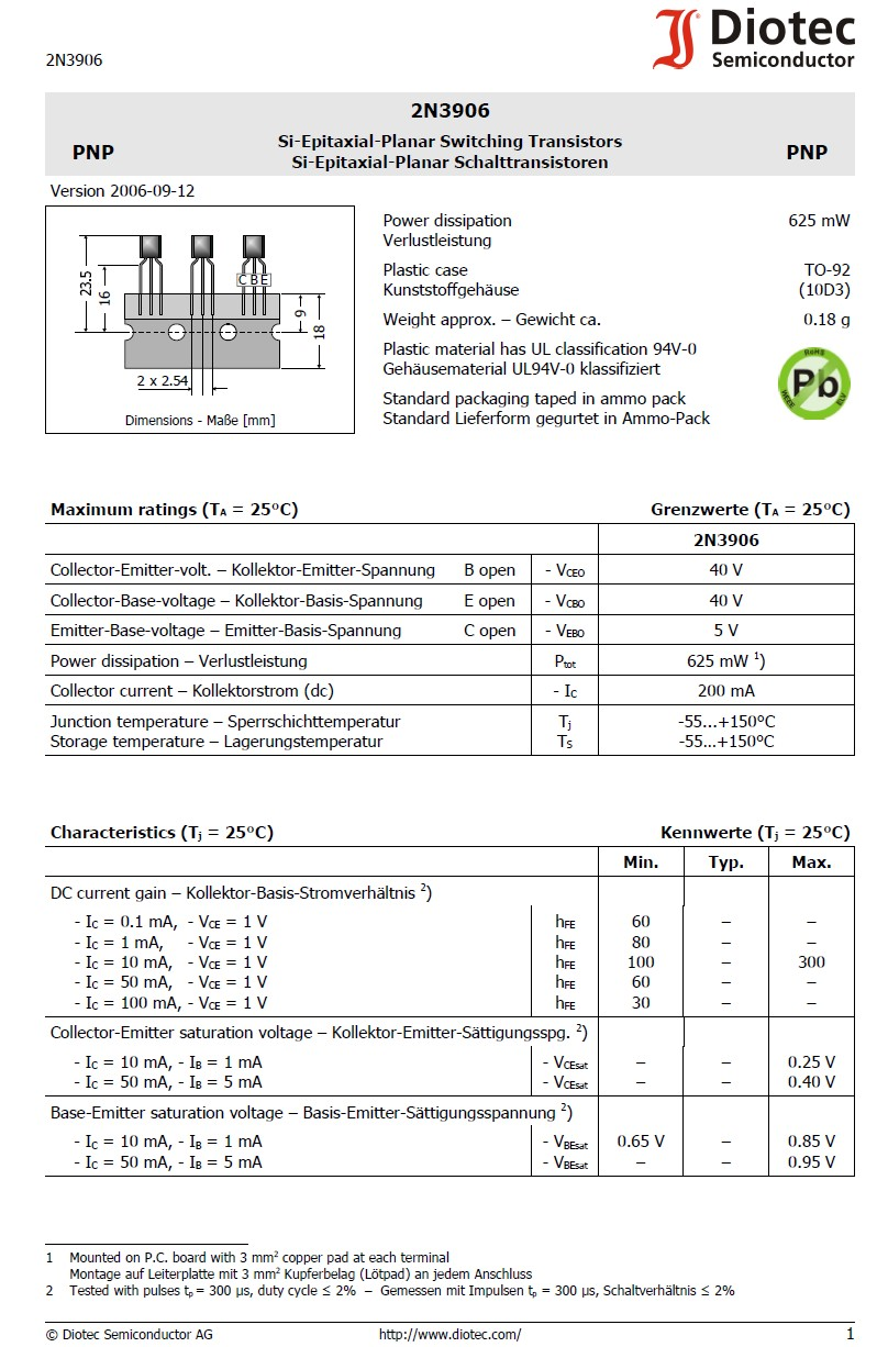Tranzisztor PNP 40V 0.1A 0.6W 250MHz hFE:100 2N3906 2N3906 -