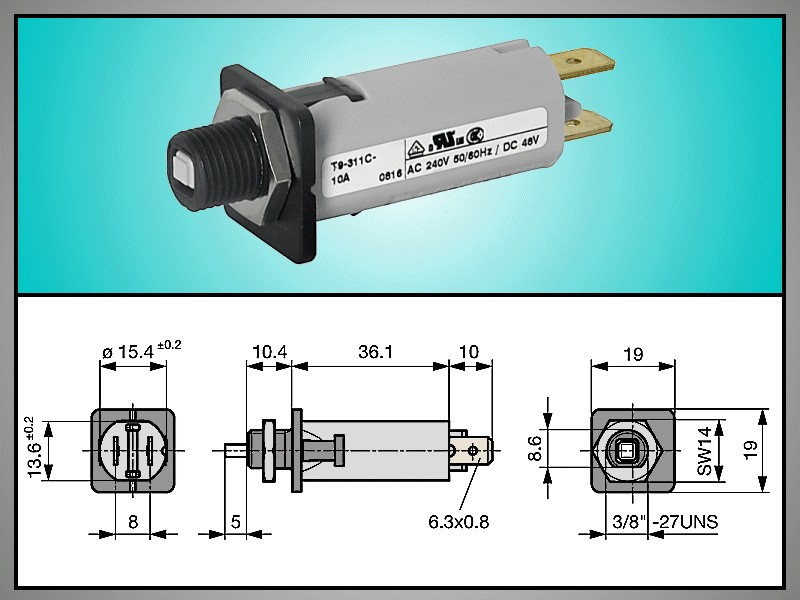 Túláramvédő kapcsoló T9 240Vac 32Vdc 12A SW70000-12 -