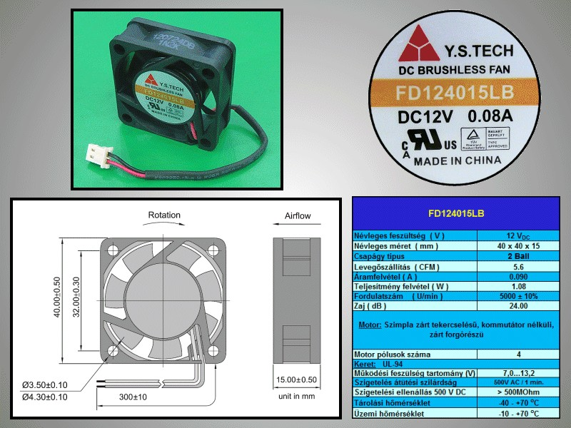 Ventilátor 4.5 KRPM 12V 65ma 2 érintkezős 780mW 40x40x15mm W8-5900RD023D -
