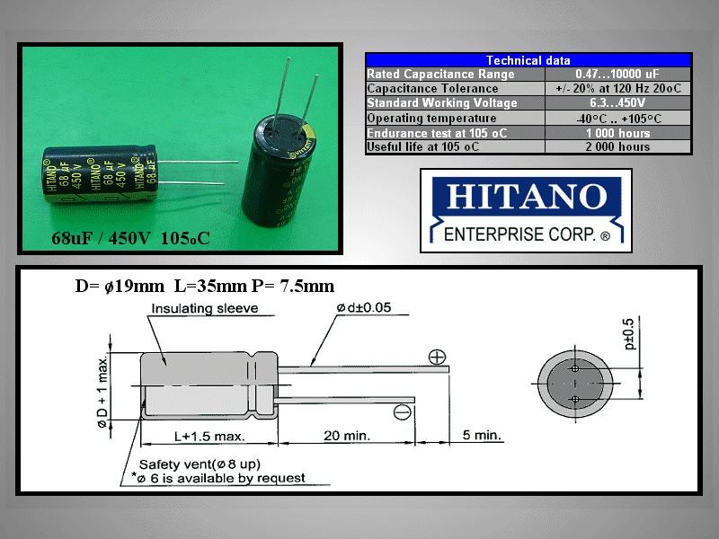 ELKO 68uF 450V 105°C 18x36 Low-ESR álló 68/450P-105ESR H -