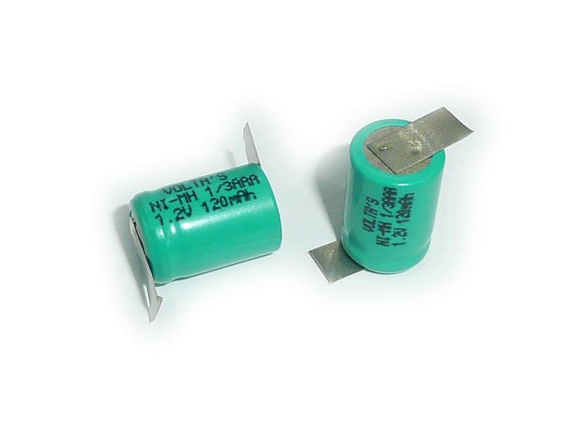 Ni-MH 1.2V 120mAh akkumulátor 15x10.5mm 1/3AAA ACCU-1.2/120 /3