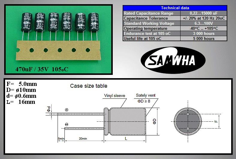 ELKO 470uF 35V 105°C 10x16 Low-ESR MK 470/35P-105ESR S -