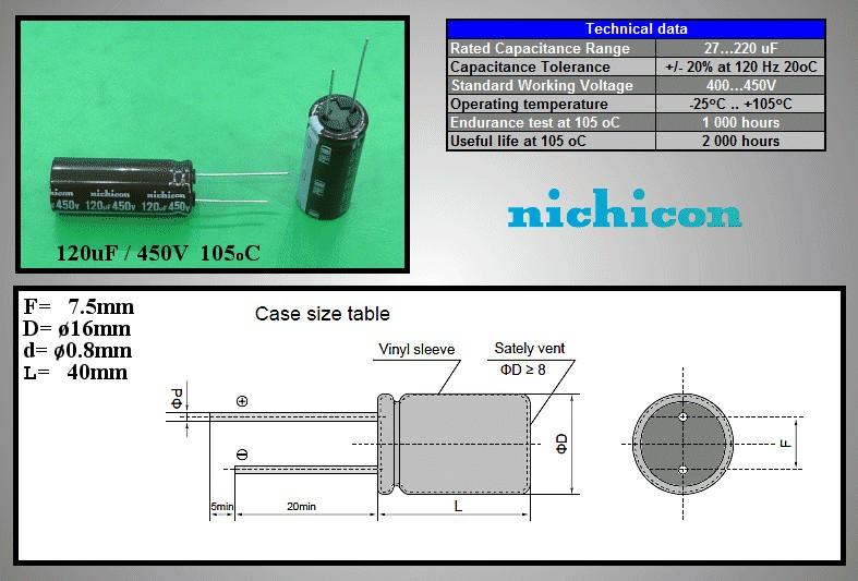 ELKO 120uF 450V 105°C 16x40 RM-7.5 álló 120/450P-105 -