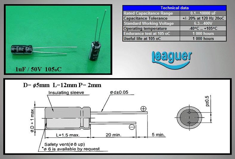 ELKO 1uF 50V 105°C 5x11mm álló 1/50P-105 -