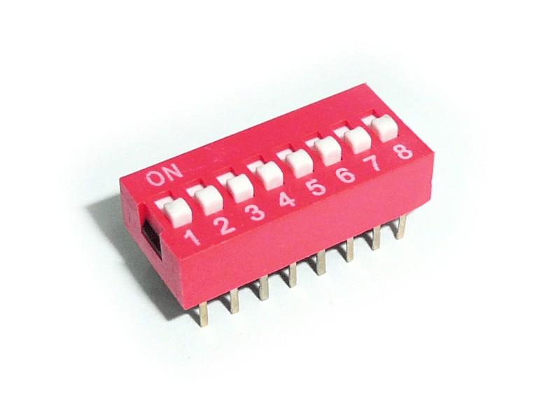 8 érintkezős DIP kapcsoló Stand. Red DS-08 R