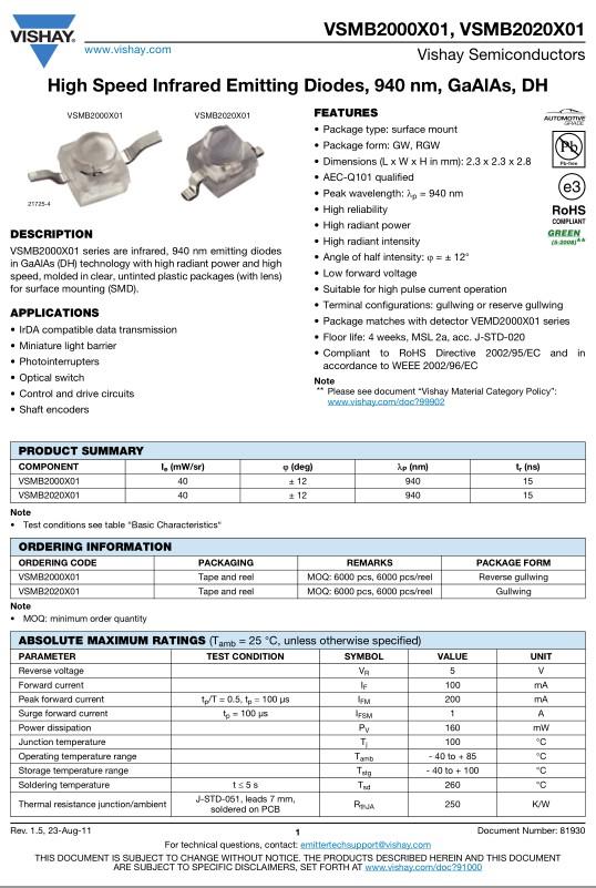 LED SMD infravörös 940nm 160mW tr:15ns, 2,3x2,3mm VSMB2020X01