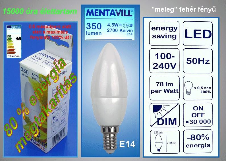 240V 4,5W LED lámpa E14/MF LAMP LED E14WW4.5W -