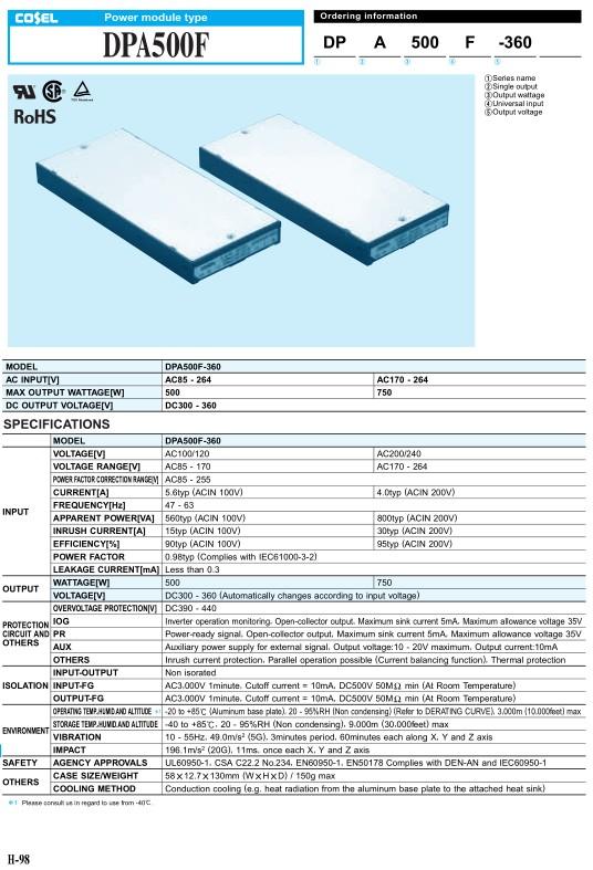 AC/DC modul 85...264VAC 500W 300…360VDC 5.6A DPA500F-360