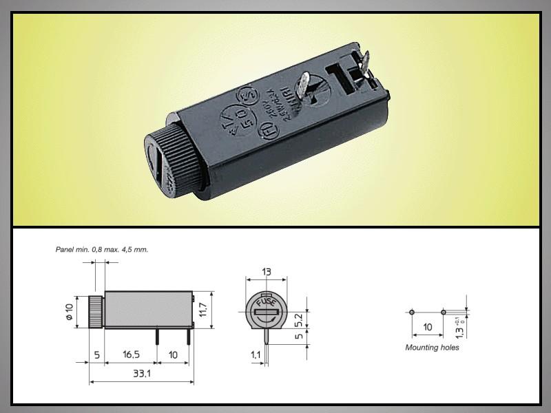 Biztosíték tartó 5x20mm Bajonettzár 250V 10A PCB 2p. ZH7/10H -