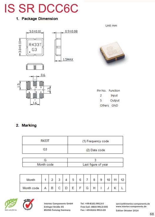Resonator Block 433.92MHz 6p.3x3 433.92MHZ/3