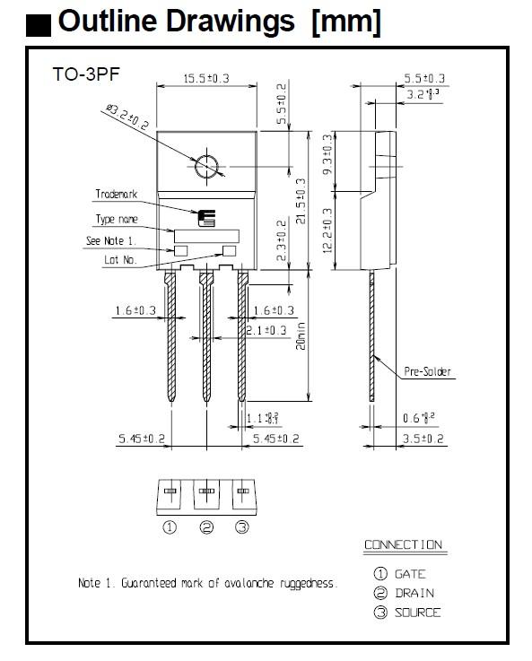 N-MOS 600V 21A IDp:84A 160W 0.29R SW-Reg. 2SK3528-01R -