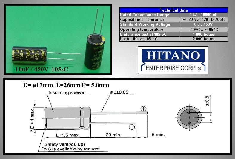 ELKO 10uF 450V 105°C 13x26 Low-ESR álló 10/450P-105ESR H -