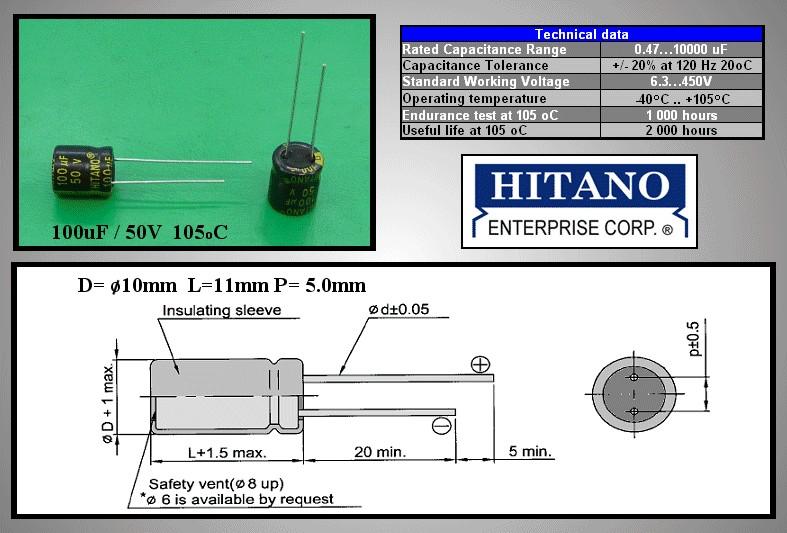 ELKO 100uF 50V 105°C 10x13 Low-ESR 100/50P-105ESR H -