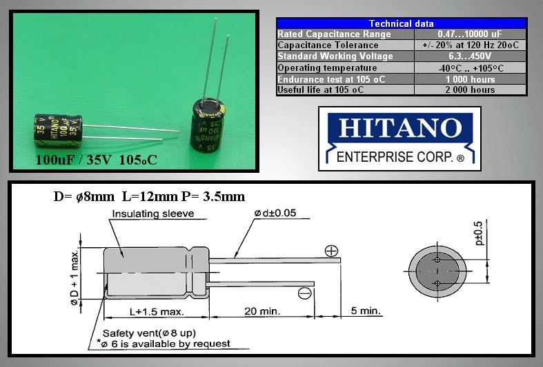 ELKO 100uF 35V 105°C 8x12 Low-ESR 100/35P-105ESR H -