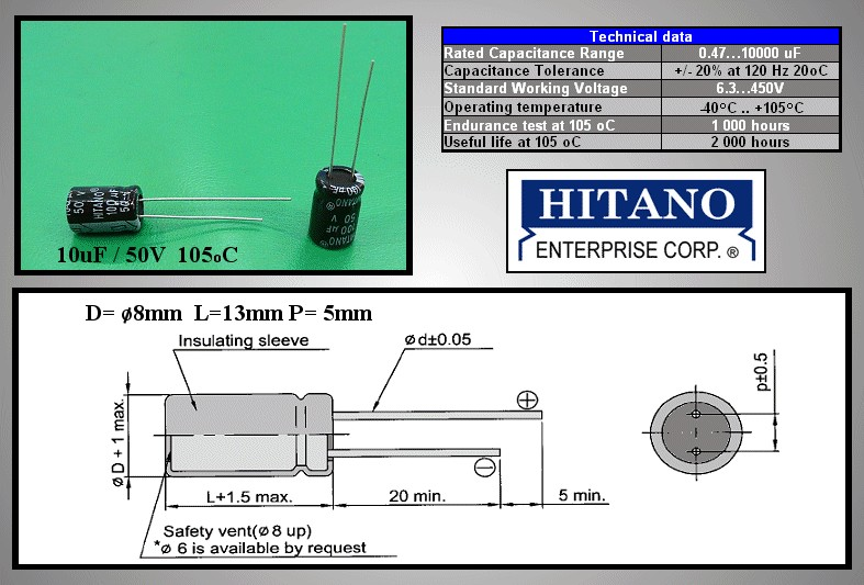 ELKO 100uF 50V 105°C 6.3x11 álló 100/50P-105 H -