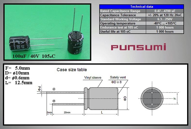 ELKO 100uF 40V 105°C 10x12.5 álló 100/40P-105 PS -