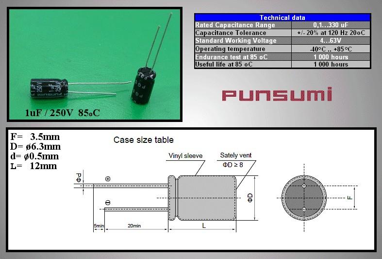 ELKO 1uF 250V 85°C 6.3x12 álló 1/250P PS -