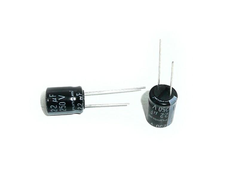 ELKO 2.2uF 250V 105°C 10x12.5 álló 2.2/250P-105 PS