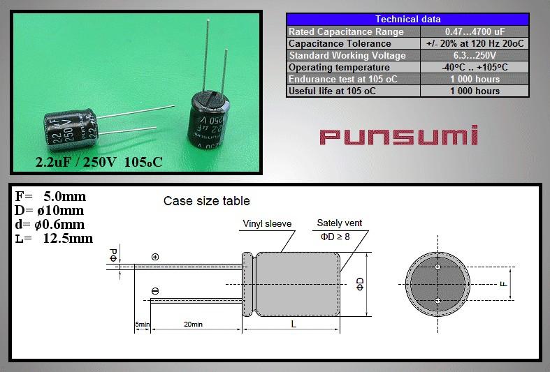 ELKO 2.2uF 250V 105°C 10x12.5 álló 2.2/250P-105 PS -