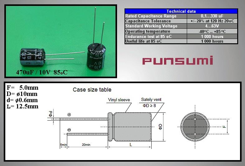 ELKO 470uF 10V 85°C 10x12.5 álló 470/10P PS -