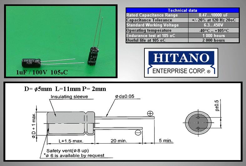ELKO 1uF 100V 105°C 5x11 álló 1/100P-105 H -