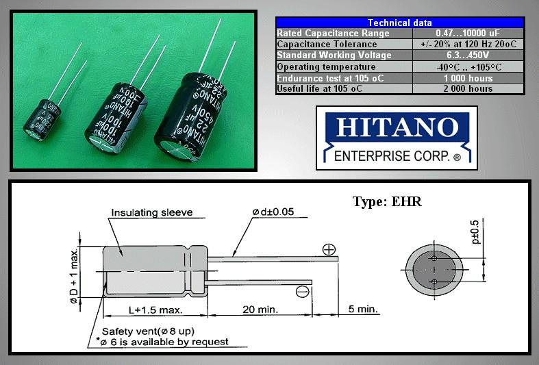 ELKO 2.2uF 100V 105°C 5x11 álló 2.2/100P-105 H -