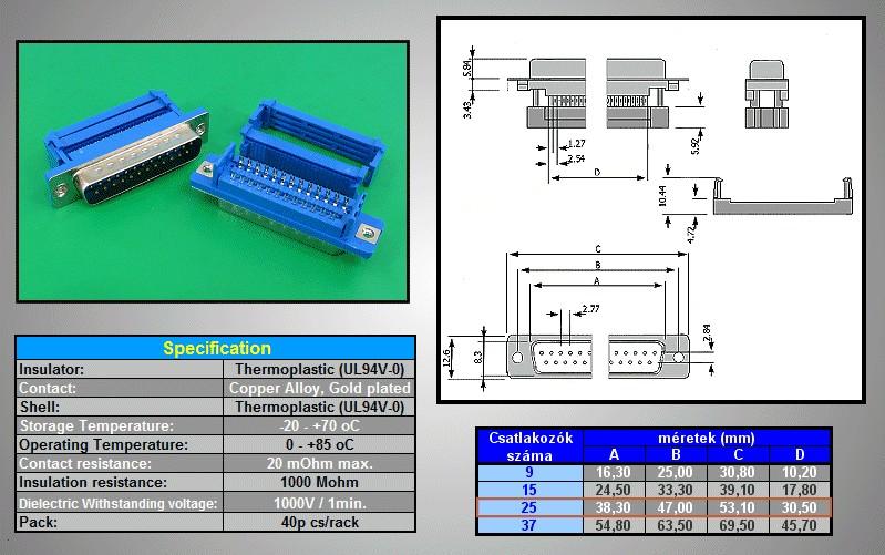 D-SUB 25p. dugó szalagkábelre CS-DS025P/S A