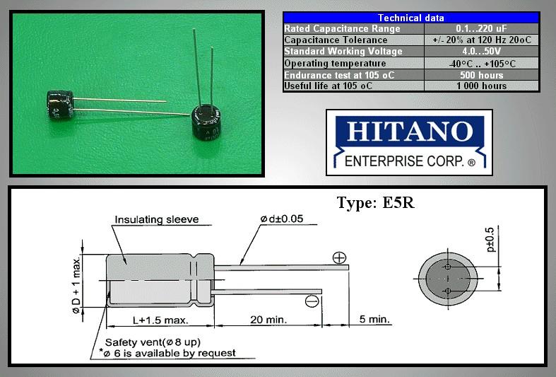 ELKO 1uF 50V 105°C 4x5mm álló 1/50P-105 4X5 H -