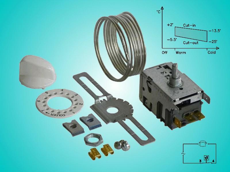 Hűtő, univerzális termosztát, Kapilláriscső: 1300mm W8-09600601 -