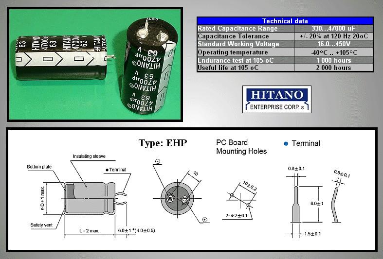 ELKO 220uF 450V 105°C 30x40 Snap-in 220/450P-105 H -